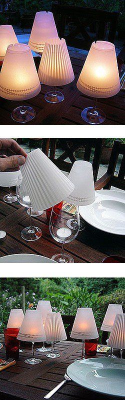 Making candle holders from wine glasses. someone made the suggestions: make your own shades from different papers for different occasions or even different holidays. Also you could do cutouts on the paper so more light shines through.