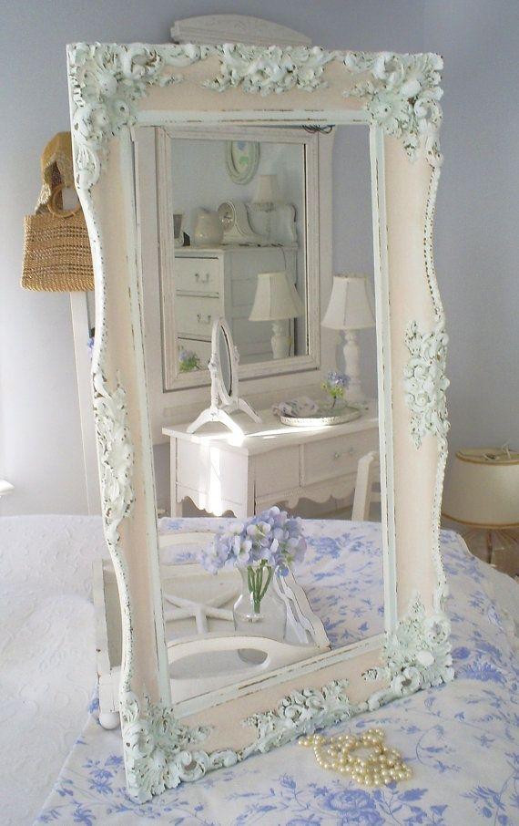 Shabby chic vintage frame pink white espejo y marcos for Espejos decorativos vintage