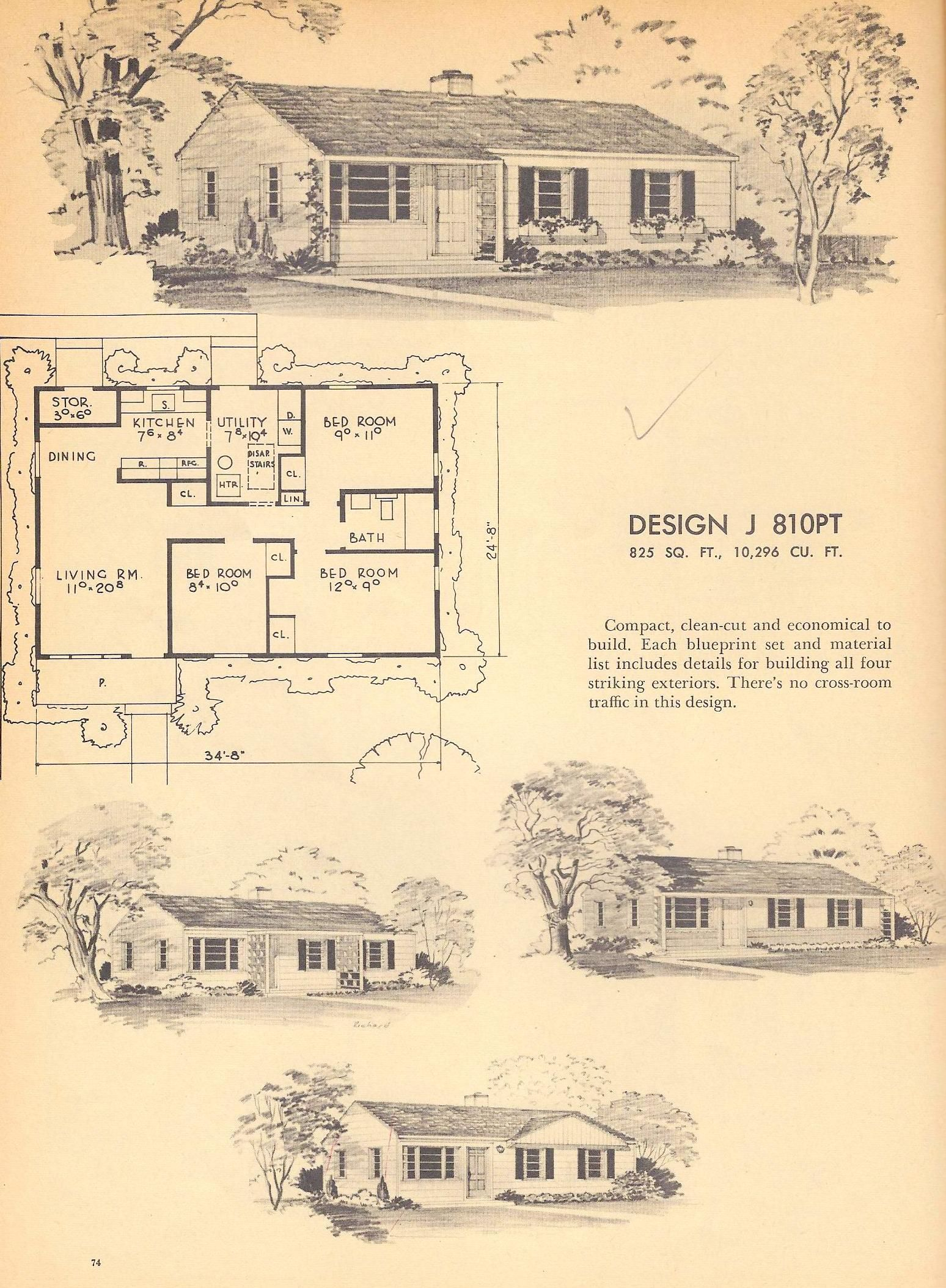 Vintage House Plans, 1950s Home, Mid Century Houses ...