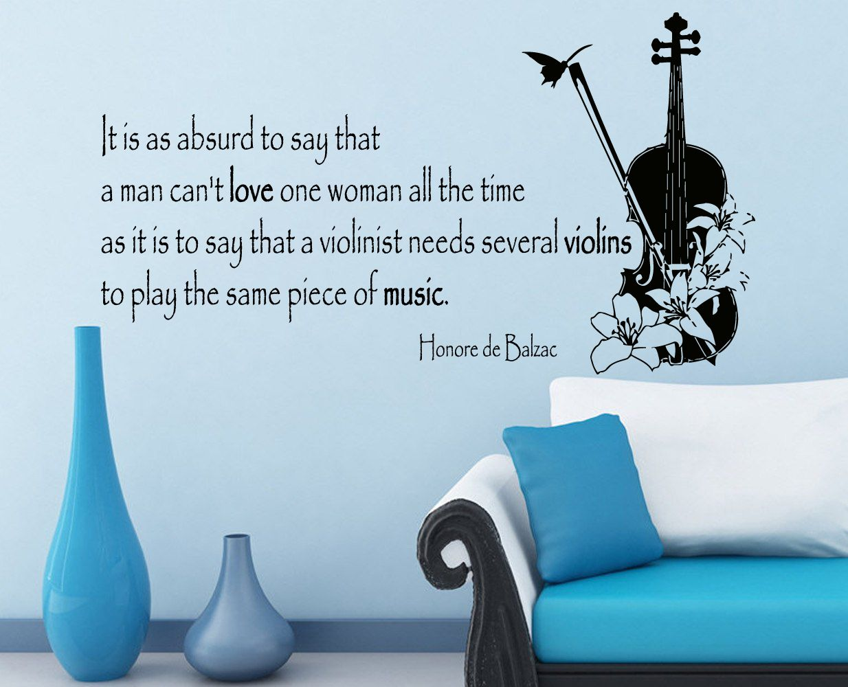 honore de balzac quote about music to love a woman music in our items similar to violin wall decals honore de balzac quote music to love a woman violinist floral design vinyl decal sticker home art interior decor on etsy