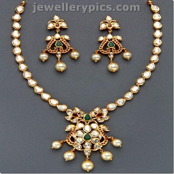 b3b9dac99d6a0 Top 10 Best Polki necklace sets jewellery - Latest Jewellery Designs ...