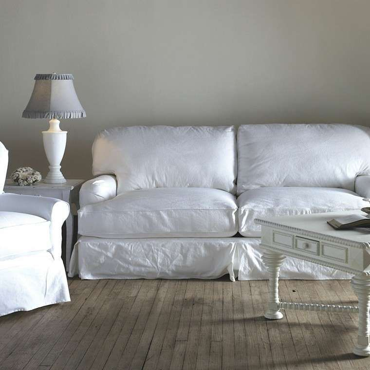 Divani in stile shabby chic - Divano in tessuto bianco | Shabby ...