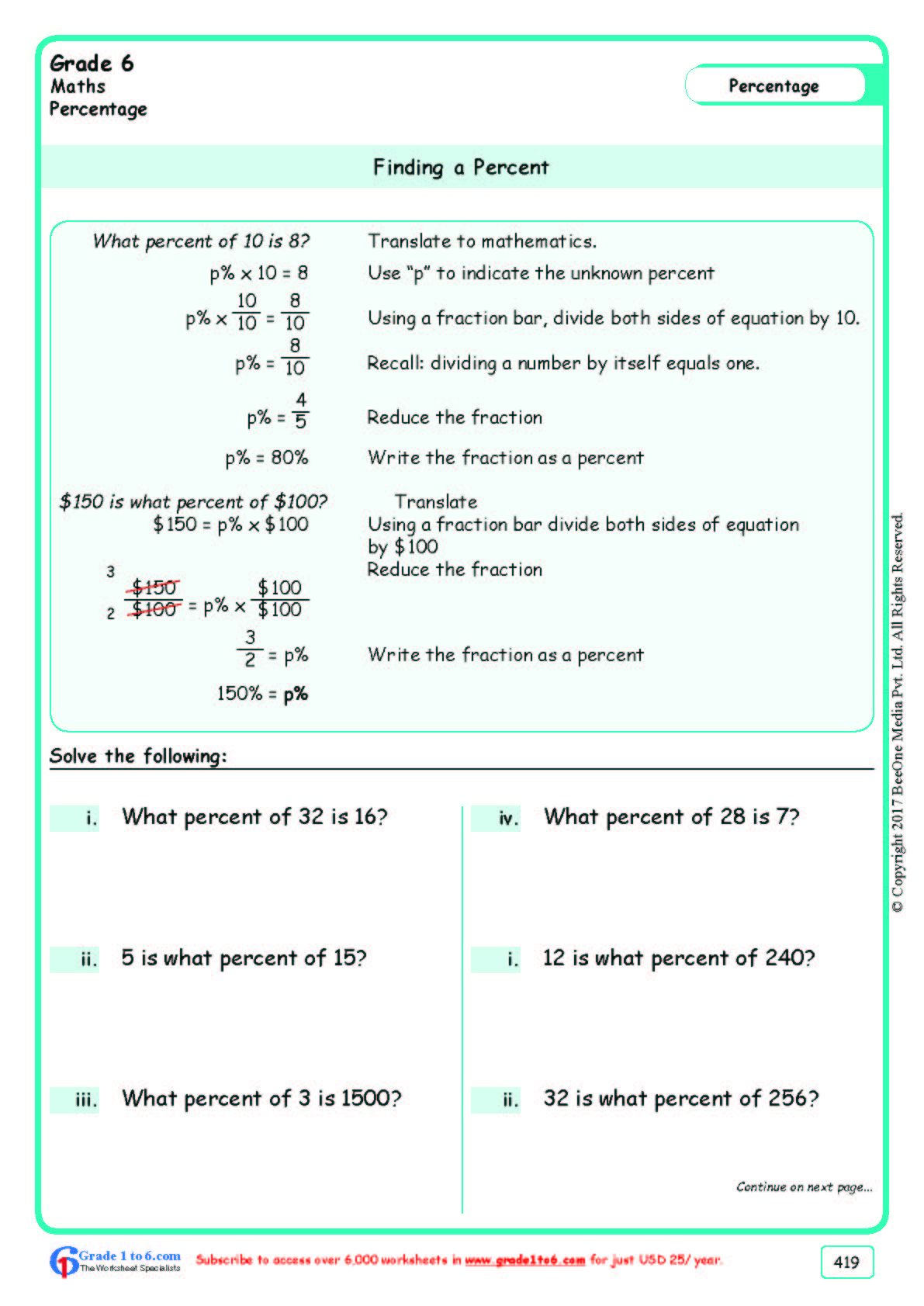 Worksheet Grad E 6 Math Finding A Percent In