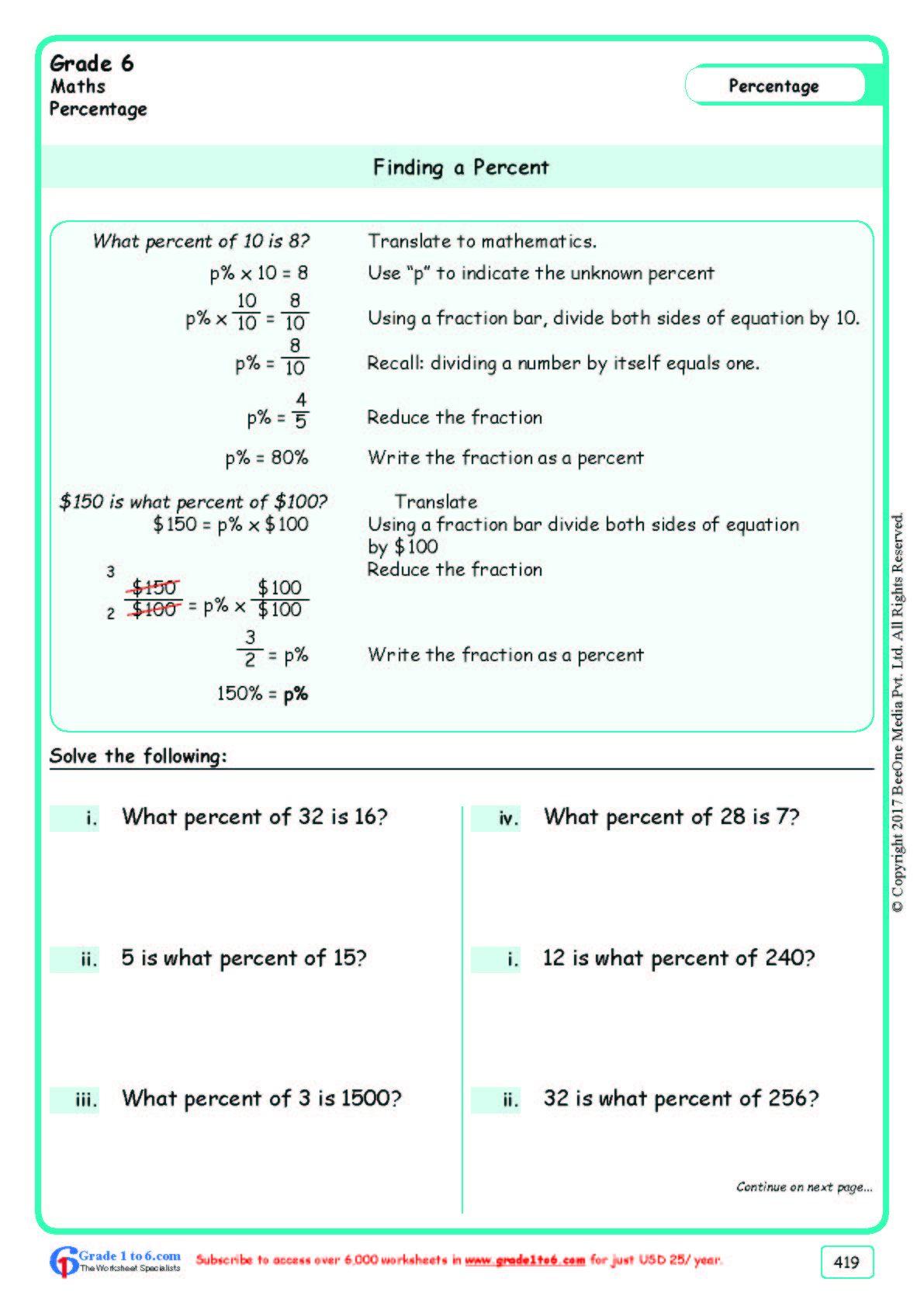 Worksheet Grad E 6 Math Finding A Percent In