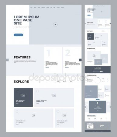 One Page Website Design Template For Business Landing Page Wireframe Flat Modern Responsive In 2020 Minimal Web Design Website Design Layout Website Template Design