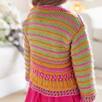 Bernat: Pattern Detail - Satin - Flower Border Cardigan (knit ...