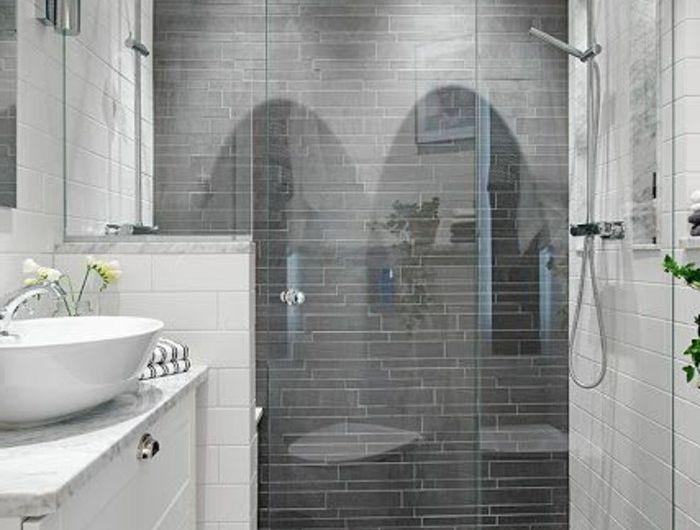 evacuatiol-douche-italienne-carrelage-gris-pour-la-salle-de-bain - Salle De Bain Moderne Grise