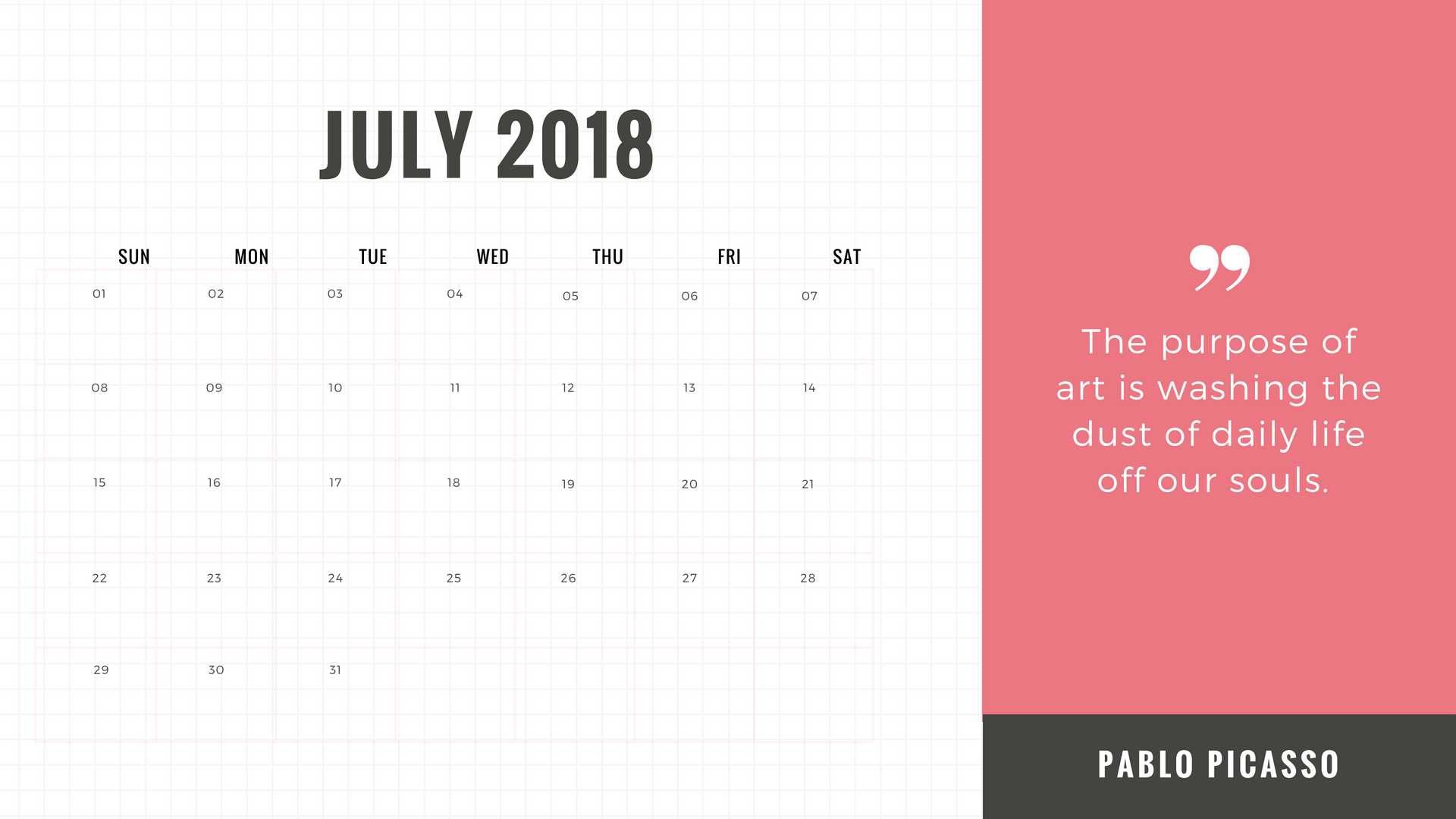 usa july 2018 calendar with federal holidays