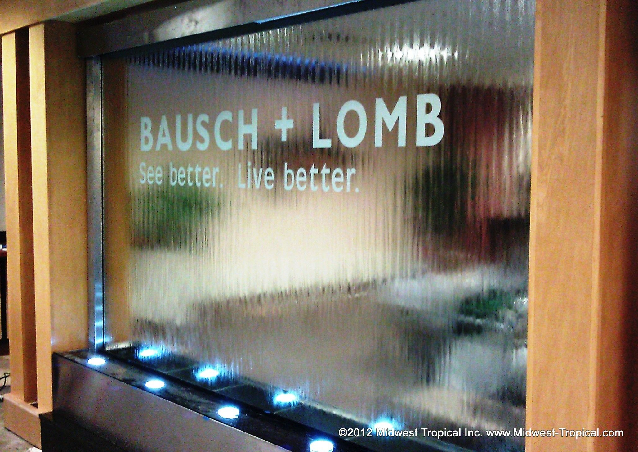 Lobby Waterfall | ... And Lomb Lobby Glass And Stainless Waterfall Rochester  Ny