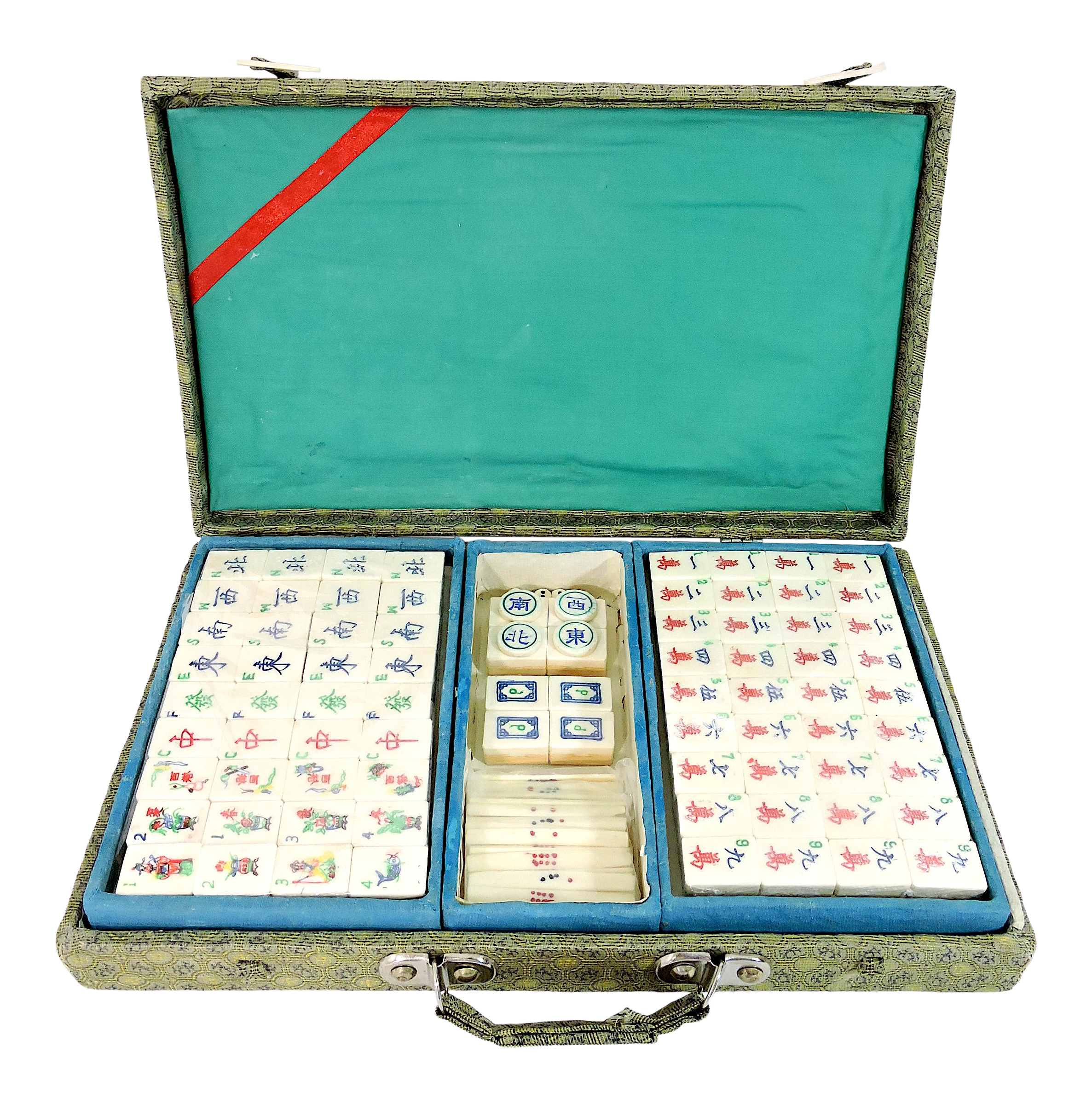 Vintage Chinese Bamboo Mahjong Game Set in Brocade Fabric