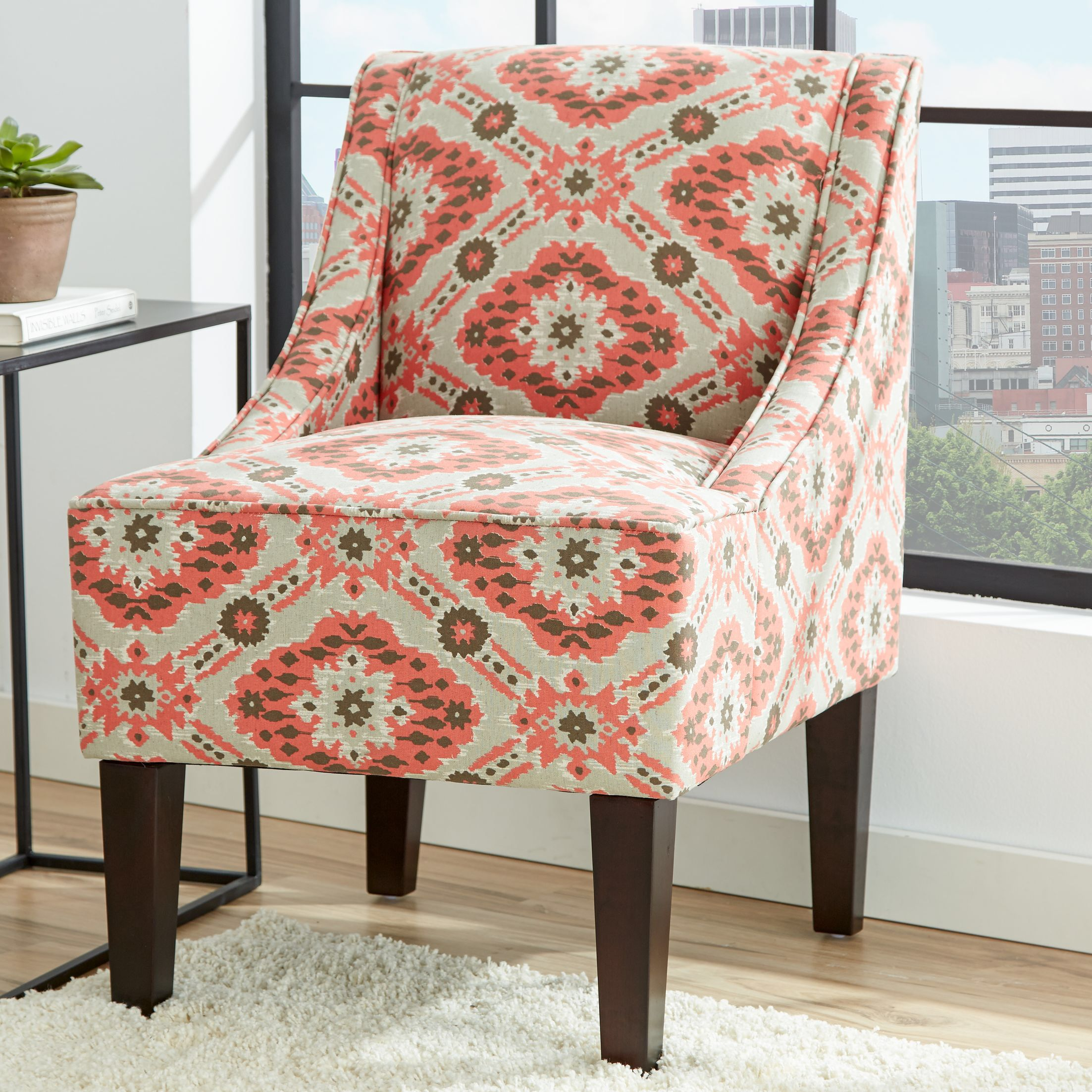Ikat Swoop Chair in Coral