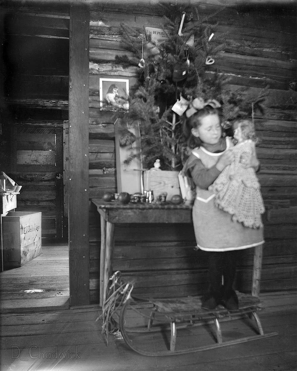 Frontier Christmas C 1900 Taken In A Small Western Mining Town