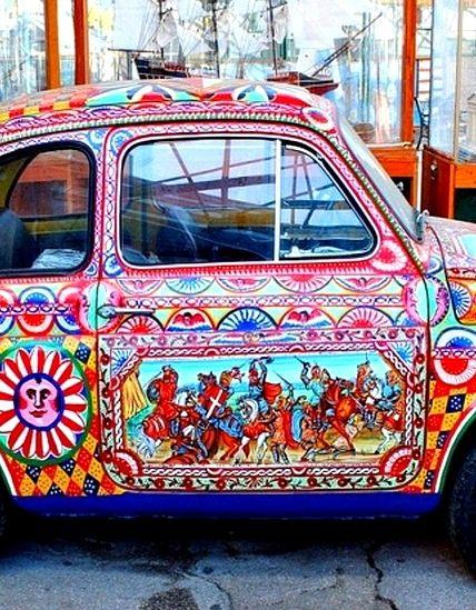 Colorful Fiat, Sicilian Artwork, Italy