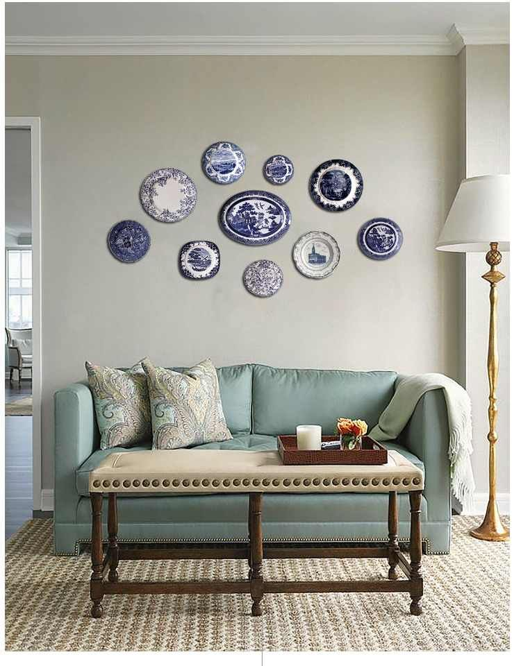 Blue And White Porcelain Decorative Plate European Retro American Village Living Room Wall Decoration Pendant Ceramic Wall Plate Bowls Plates Aliexpress Wall Decor Living Room Living Room Arrangements Living Room Decorative bowls for living room