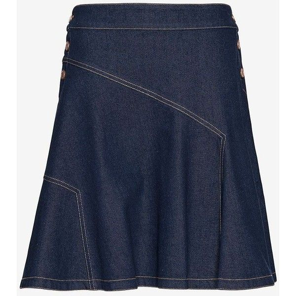 See By Chloe Denim Flare Skirt ($230) ❤ liked on Polyvore featuring skirts, skater skirt, flared skirt, blue circle skirt, blue skirt and denim skirt