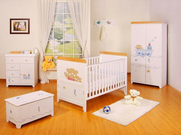 Baby Room Design Idea With White Crib With Brown Bear Motive White Wardrobe. & Baby beds funny figures of white furniture baby room design | Kids ...