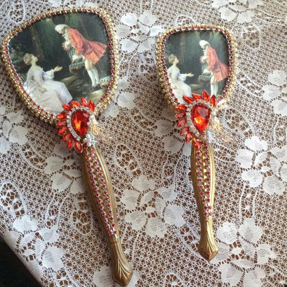 Jeweled brush and hand brush and mirror set by cindysvictorian