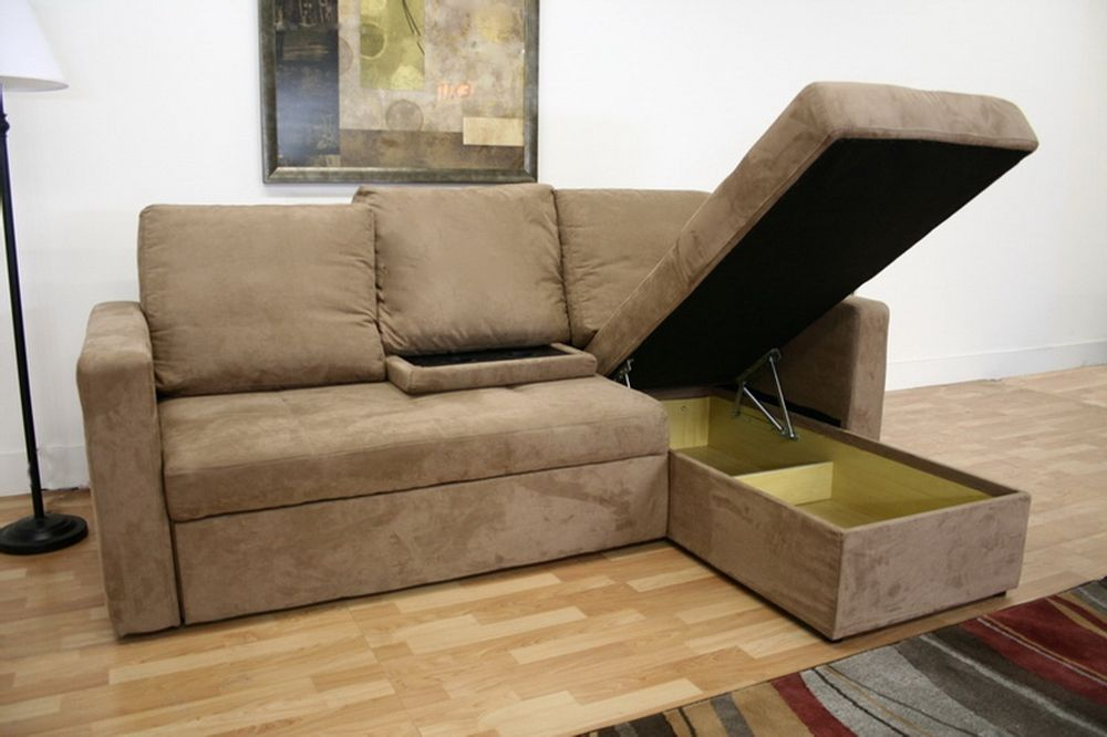 Linden Tan Microfiber Convertible Sectional Sofa Bed Affordable Modern Furniture In Chicago