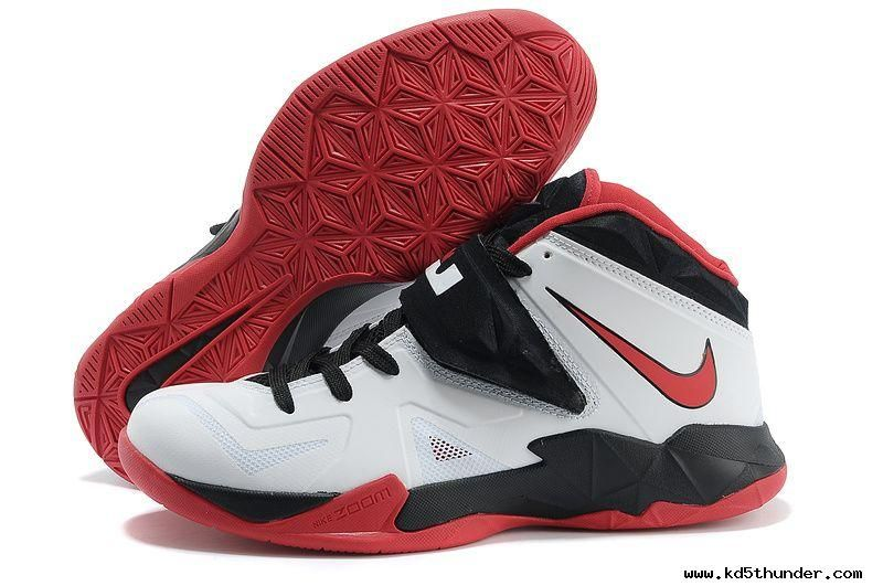 a66d27aabfe4 New White Black Red Nike Lebron Zoom Soldier VII 599264 005 For Wholesale