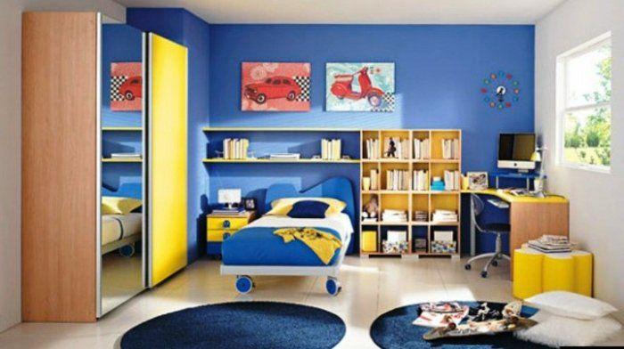 kinderzimmer ideen jungs blaue teppiche rund bett mit rolladen - tolle kinderzimmer design idee