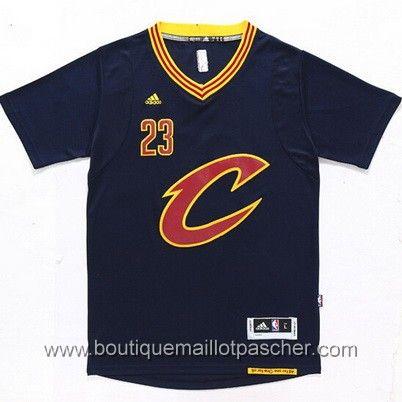 maillot nba pas cher Cleveland Cavaliers James #23 Bleu marine manche courte nouveaux tissu