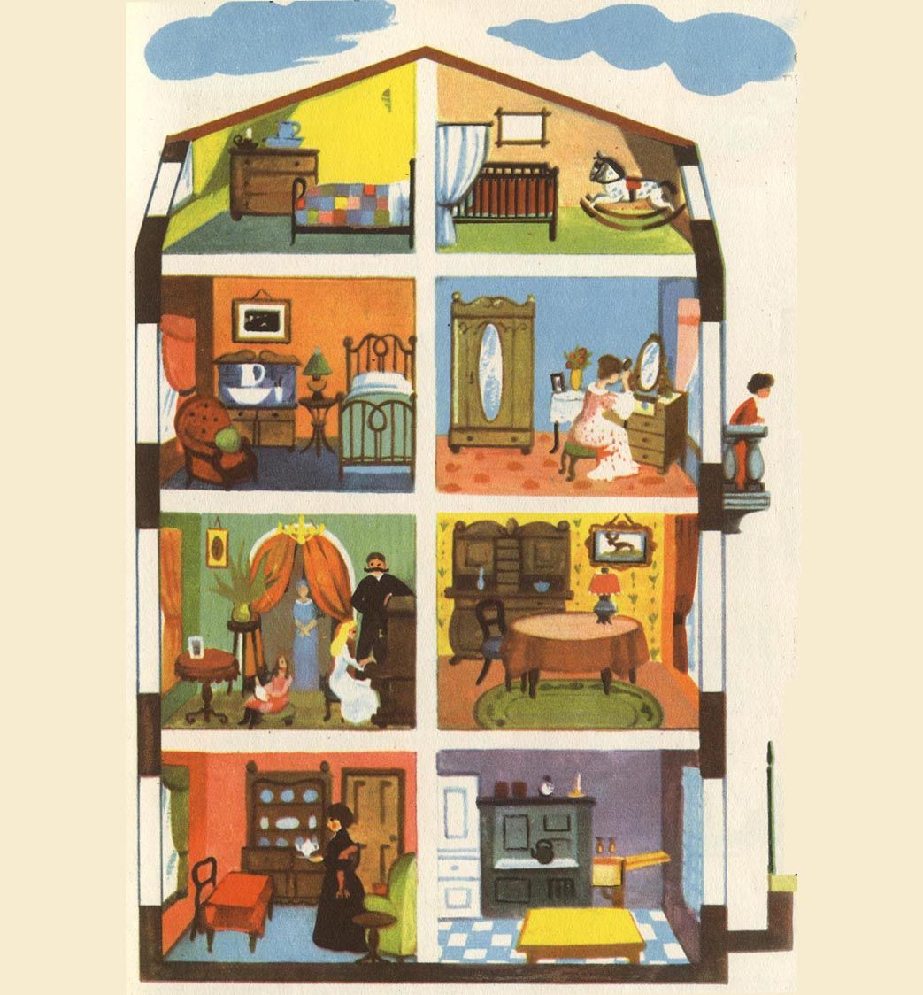 The Cutaway Cross Sections Of A House House Illustration Dolls House Interiors Paper Doll House