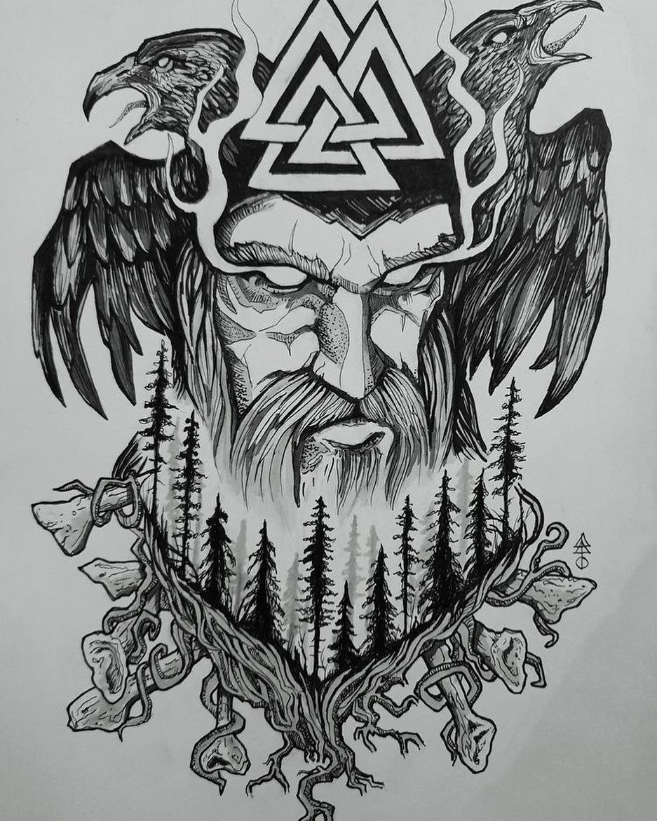 Norse Tattoos Viking Tattoos Raven Tattoos Odin Tattoos Tattoo Sketch In 2020 Norse Mythology Tattoo Norse Tattoo Viking Tattoo Symbol