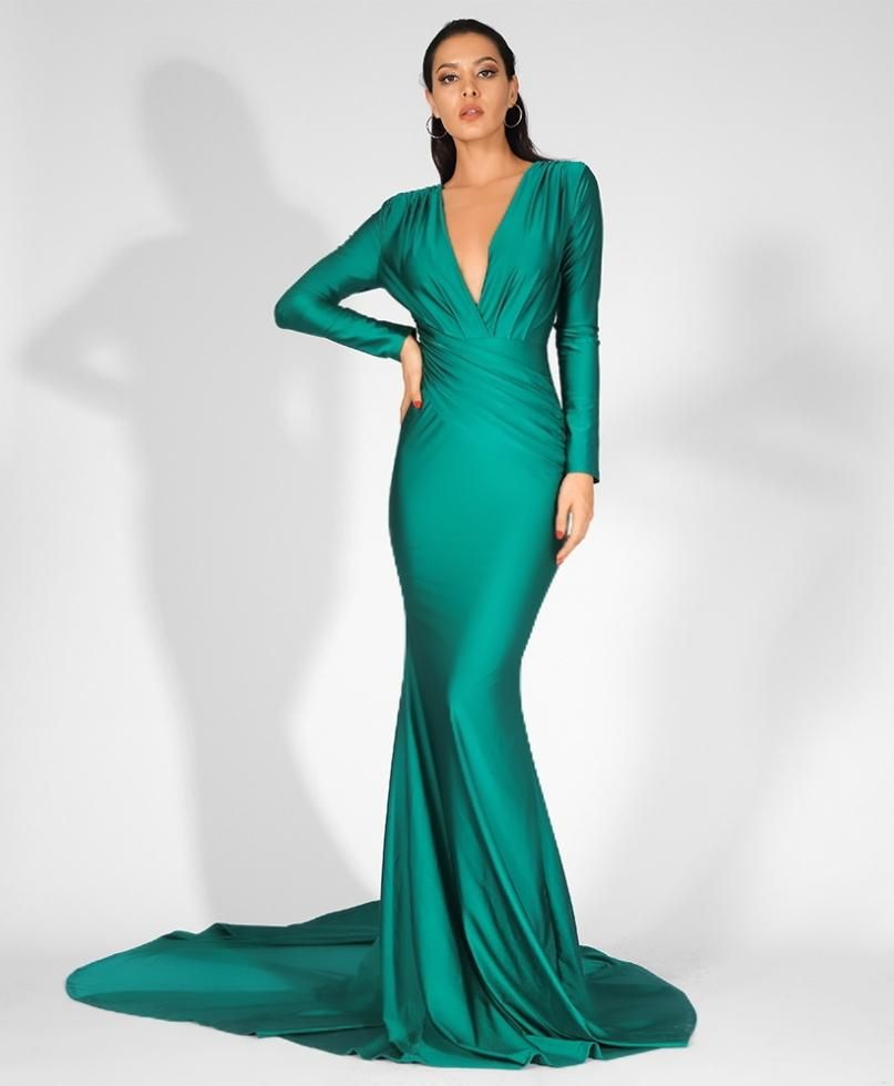 Jamila Gown Emerald Long Sleeve Bridesmaid Dress Green Evening Gowns Gorgeous Gowns [ 980 x 807 Pixel ]