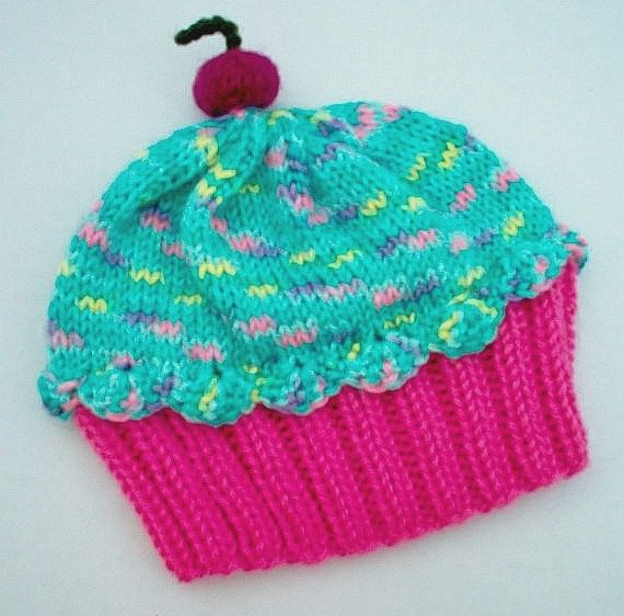 Handmade hand knit Cupcake Hat with Cherry on Top by ...