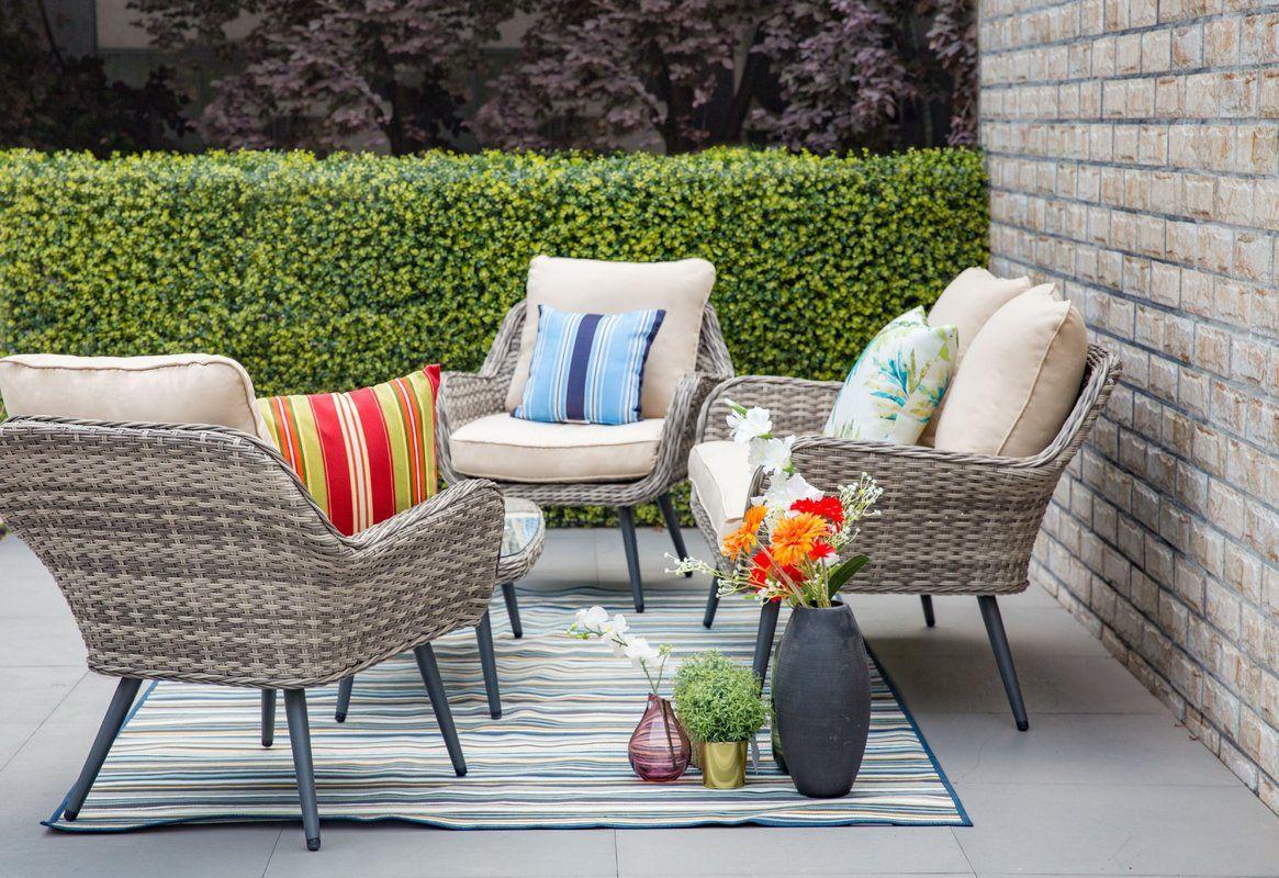Joss And Main Patio Furniture.Carlile 4 Piece Sofa Set With Cushions In 2019 Porch Sofa Set