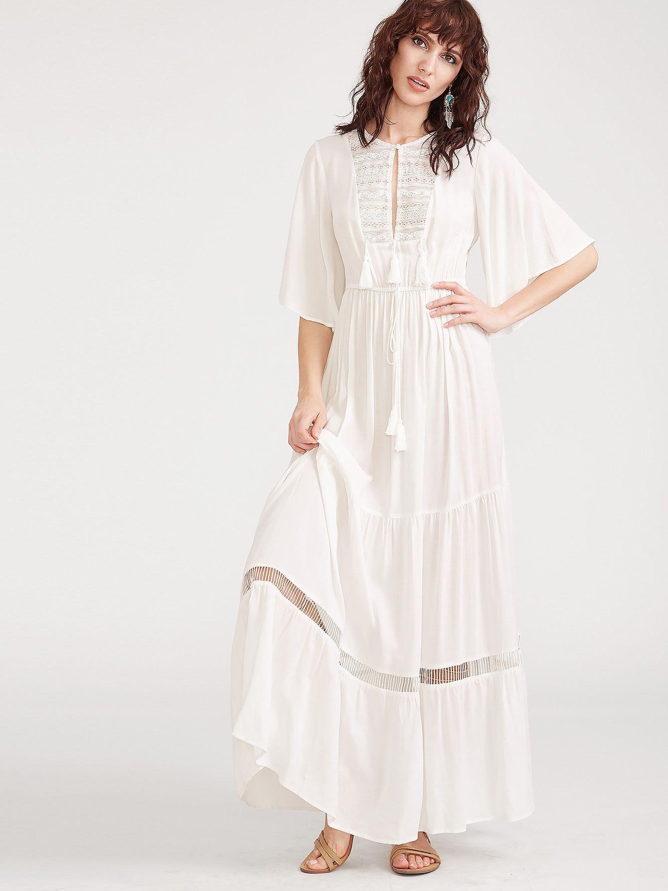 White Lace Yoke Flutter Sleeve Tasseled Tie Peasant Dress Trendy Dresses Lace White Dress White Dress Summer [ 1785 x 1340 Pixel ]