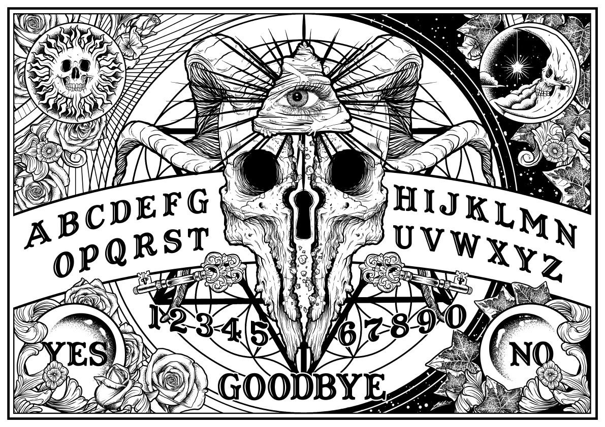 Ouija Board Magische Symbole Coole Kunst Zeichnung