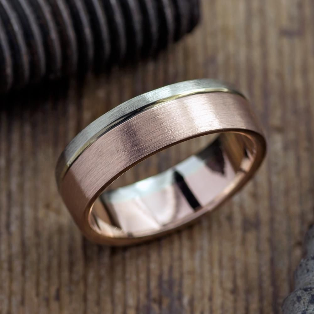 6mm Mens Wedding Band, 14kr Gold & 14kw Gold Band Point