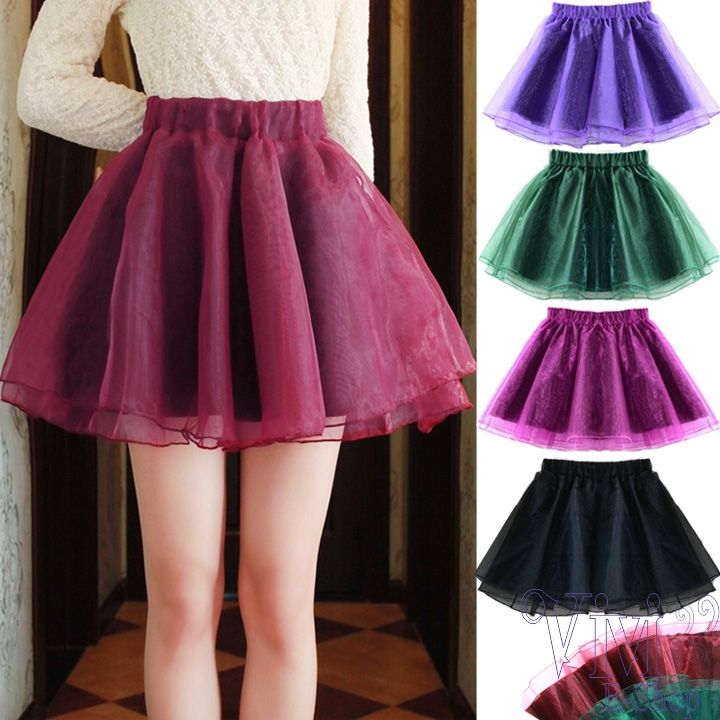New 2014 Fashion Women High Waist Organza Tutu Mini Skirt A-line ...