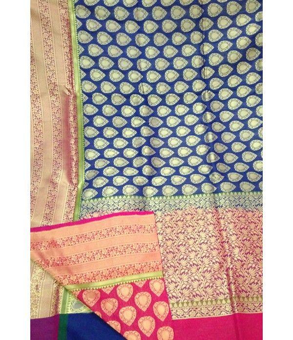 Blue Handloom Banarasi Katan Silk Saree