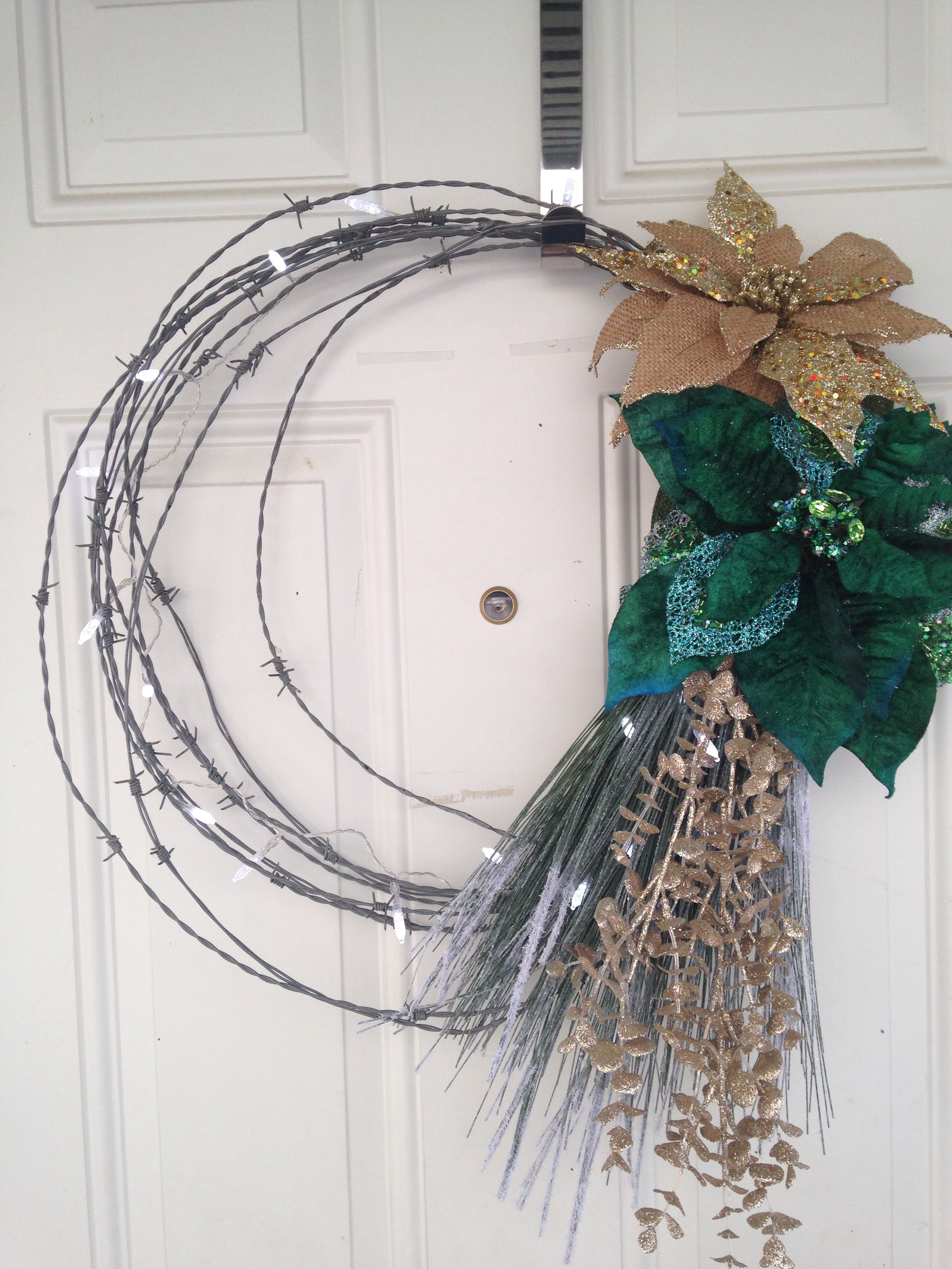 Barb Wire Wreath With Burlap - Wiring