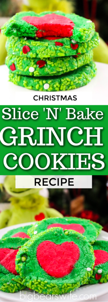 Homemade Slice 'N' Bake Grinch Cookies are perfect for Christmas and might even make a sweet surprise for Santa! #grinchcookies