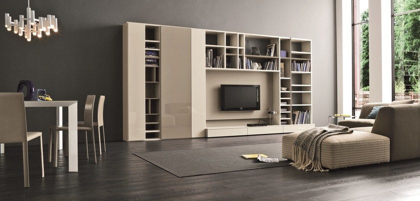 Mueble modular de pared lacado con soporte para tv SPEED F by Dall - muebles de pared