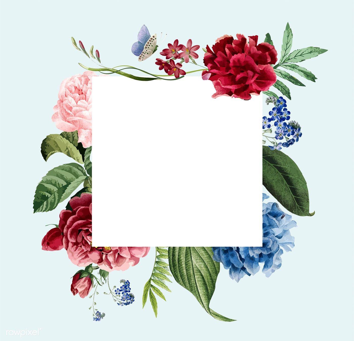Download premium vector of Floral frame invitation card