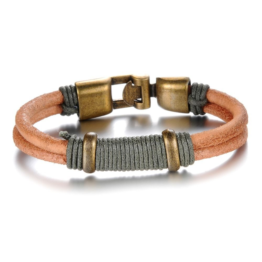 Wild tide retro rock alloy buckle male leather bracelet vintage