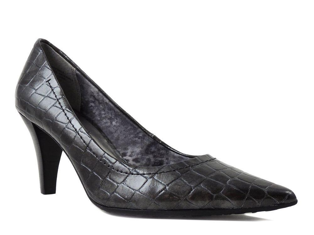 Anne Klein Women's Cakewalk Classic Pumps Dark Pewter Croco Print Gray Size 5.5 #AnneKlein #PumpsClassics