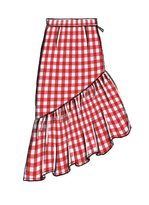 McCall's Skirt Sewing Pattern With Dramatic Ruffle M40 Misses Unique Skirt Pattern