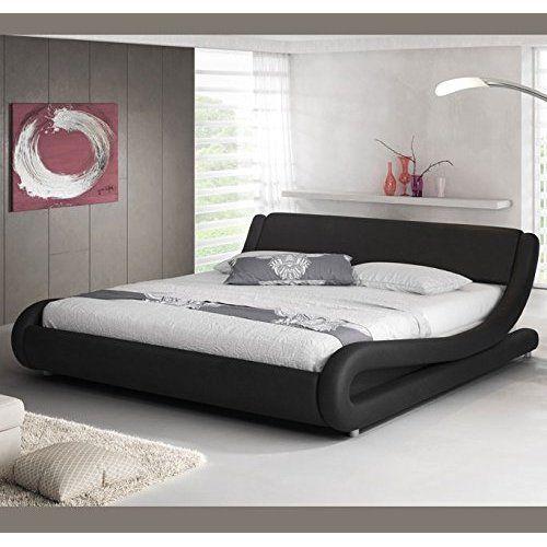 Lit Design En Cuir Lit Double 160x200 Cm Or Sommier