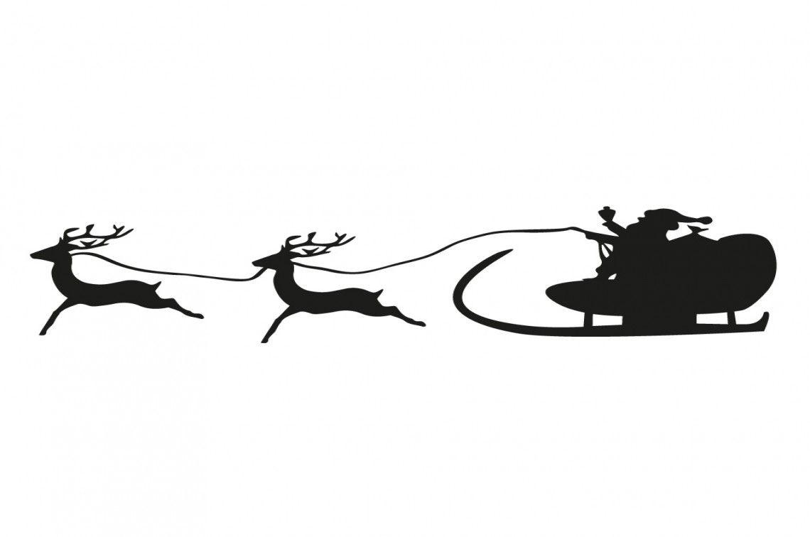Weihnachtsdekoration Fensterbild Silhouette Weihnachtsmann Schlitten Rentiere