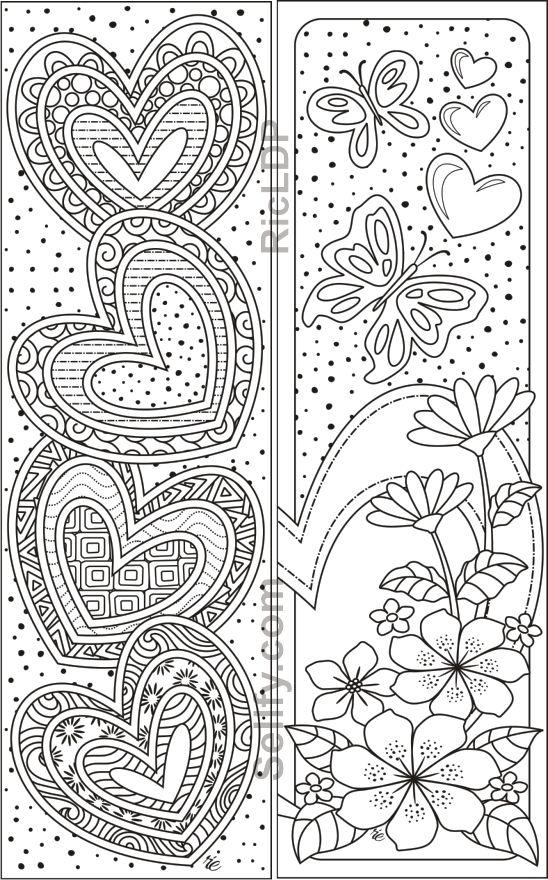 8 Coloring Bookmarks With Hearts En 2020 Con Imagenes