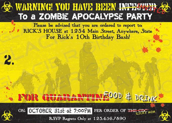 Zombie Apocalypse Birthday Invitation - Zombie Apocalypse Party Invitation - Customized Zombie Apocalypse Invitation Template - DIY Print #zombieapocalypseparty