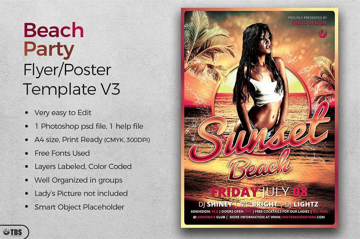 Beach Party Flyer Template V3 Cmyk Ready Print Cm Party Flyer