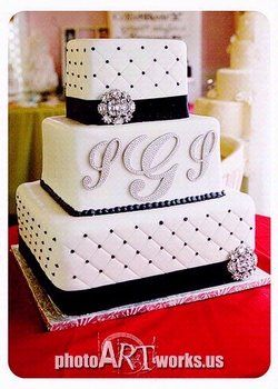 ee13d9a4b Wedding, White, Cake, Black, Silver... LOVE! Maybe even have the ...