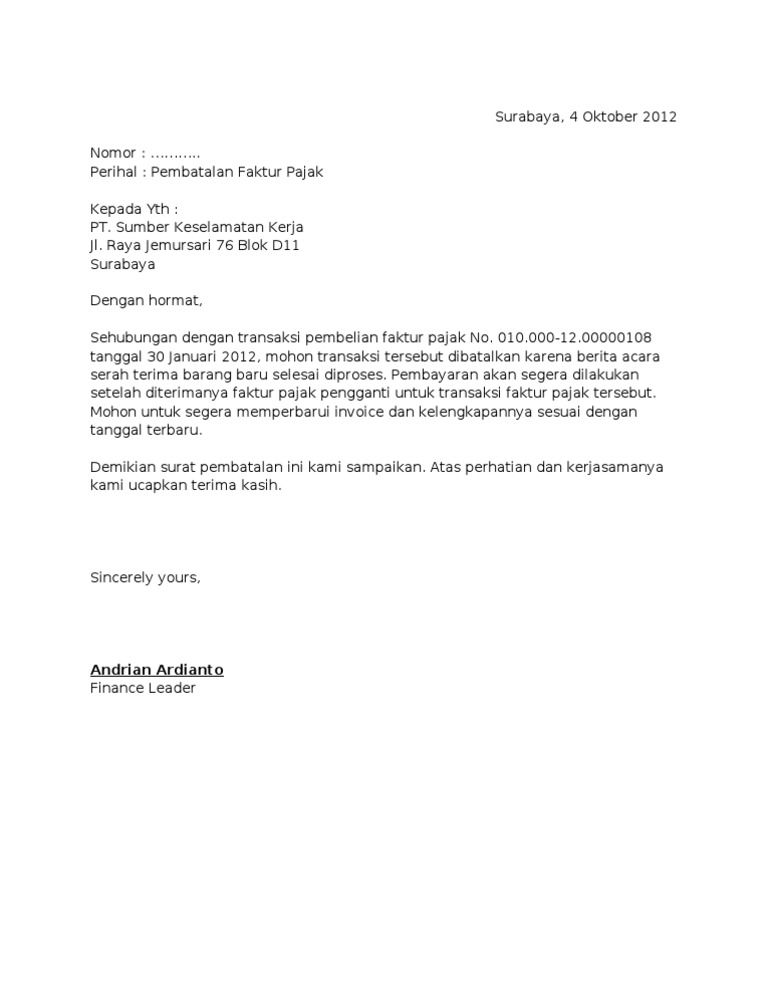 Contoh Surat Permohonan Pembatalan Nomor Faktur Pajak Surat Tanggal Pengikut