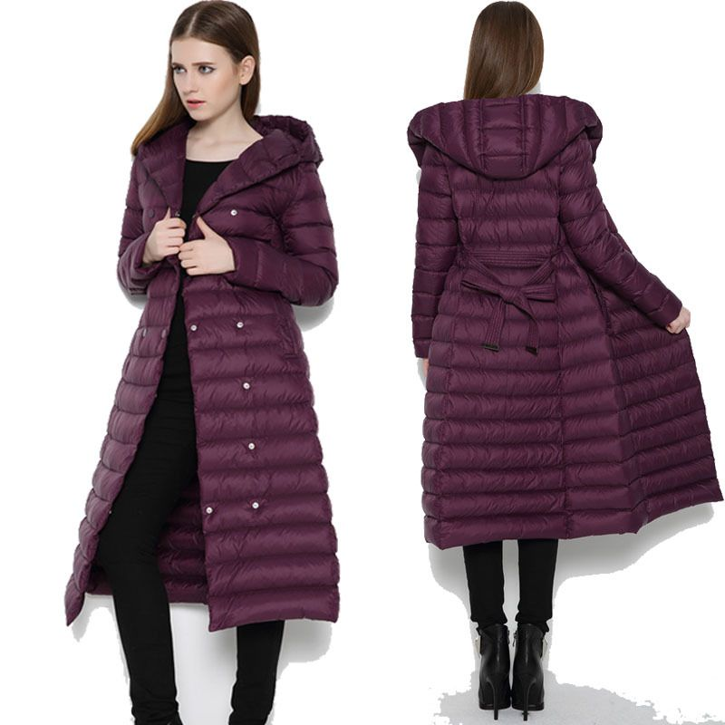 winter jacket women 90% white duck down jacket ultra thin X long ...